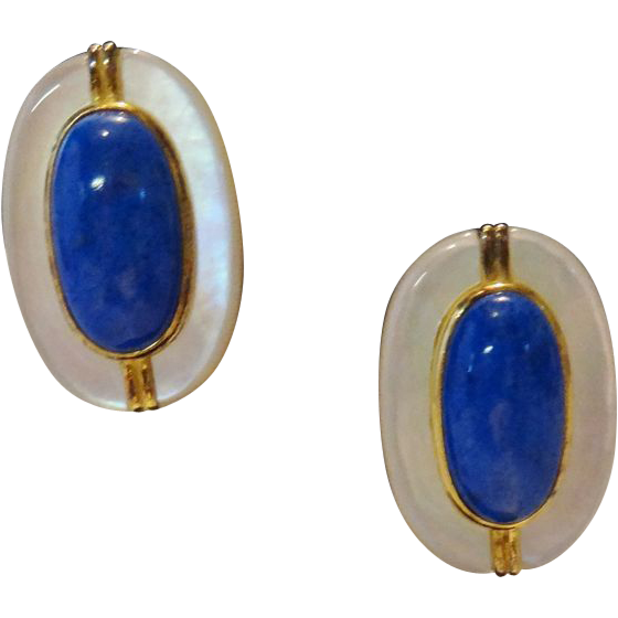 Vintage Mother of Pearl and Blue Cabochon 925  Earrings by Les Bernard