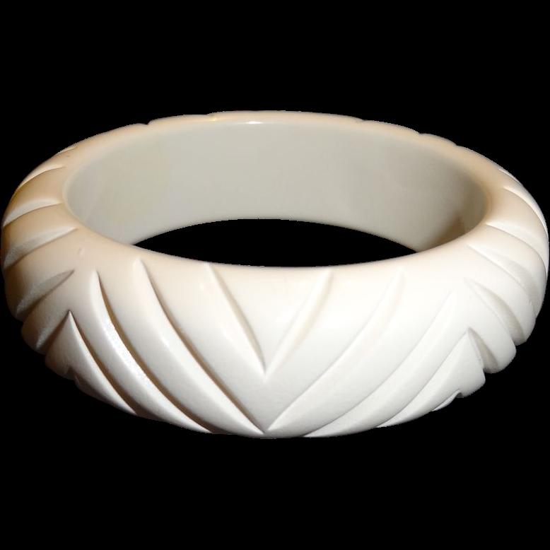 Vintage Carved White Resin Bangle Bracelet
