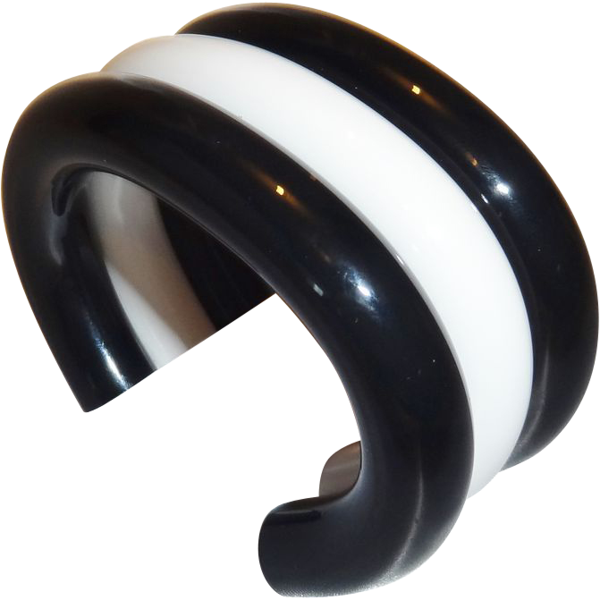 Vintage 1980's Judith Hendler RARE Black and White Lucite Cuff Bracelet