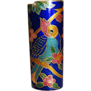 Vintage Blue Parrot Cloisonne Lighter Cover MINT