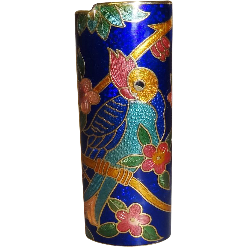 Vintage Blue Parrot Cloisonne Lighter Cover MINT