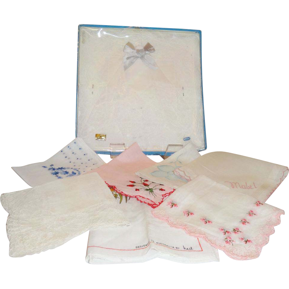 11 Vintage Handkerchiefs Assorted Singles and Boxed Pair
