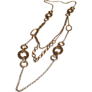 Vintage Long Gold Tone Metal Multi Chain Necklace