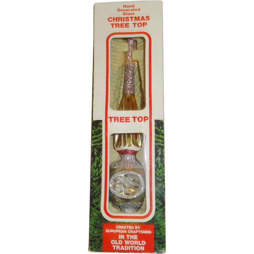 Hand Decorated Glass Tree Top in Original Box