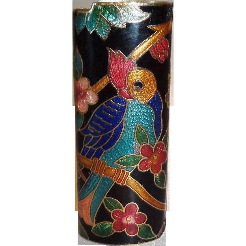 Vintage Black Parrot Cloisonne Lighter Cover MINT