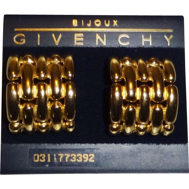 Large Givenchy Gold Tone Metal Basketweave Clip Earrings MINT