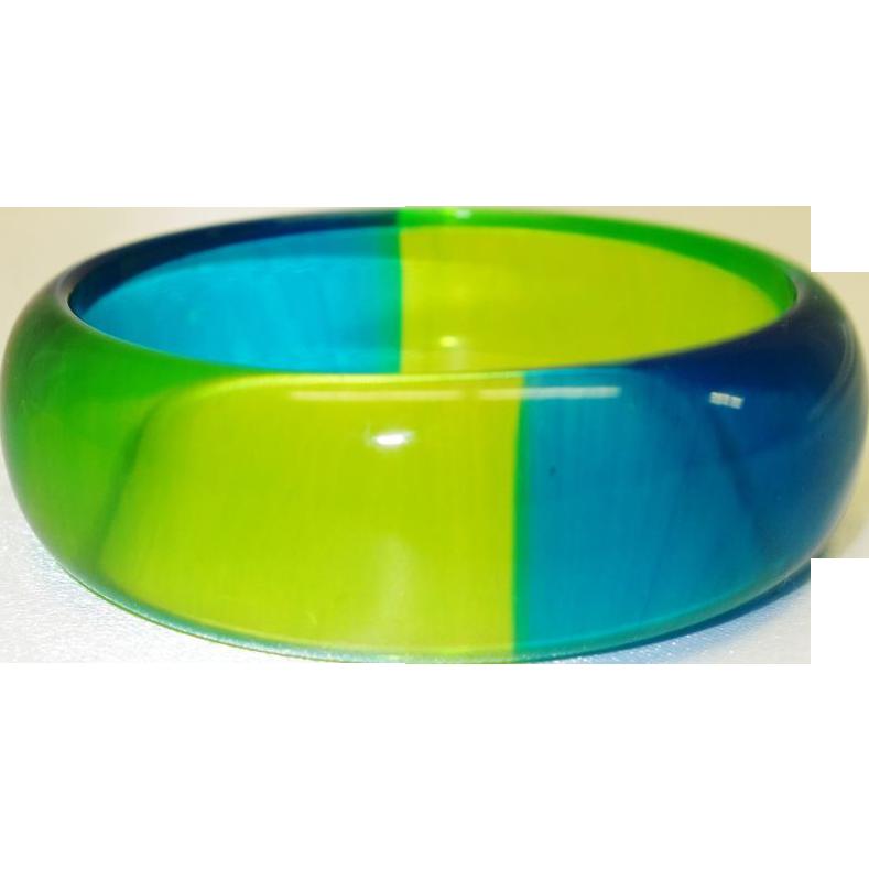 Vintage Blue and Green  Quadrant Lucite Bracelet