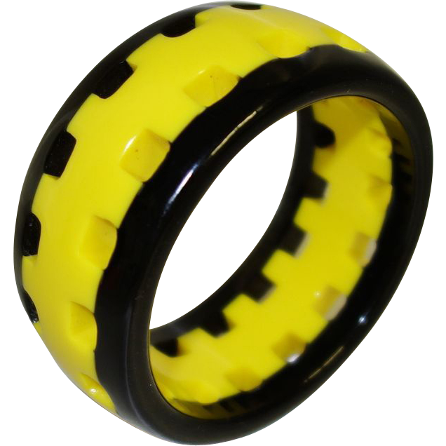 Vintage Yellow and Black Pierced Lucite Bangle Bracelet