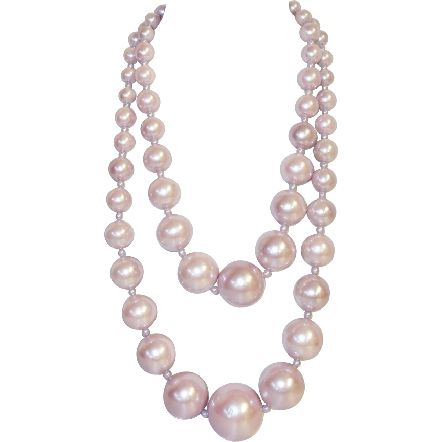 Big Bold Pink Double Strand Beaded Necklace