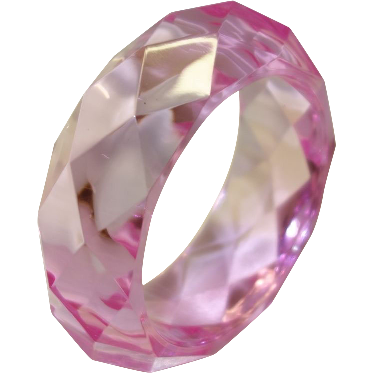 Vintage Translucent Faceted Pink Lucite Bangle Bracelet