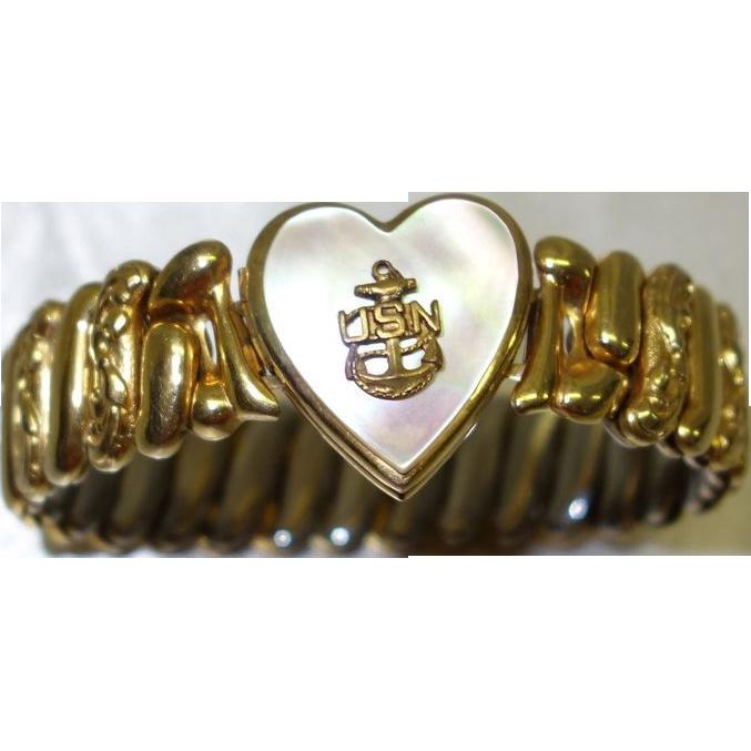 Vintage USN Sweetheart Locket Bracelet by Marvel Manufacturing Co.