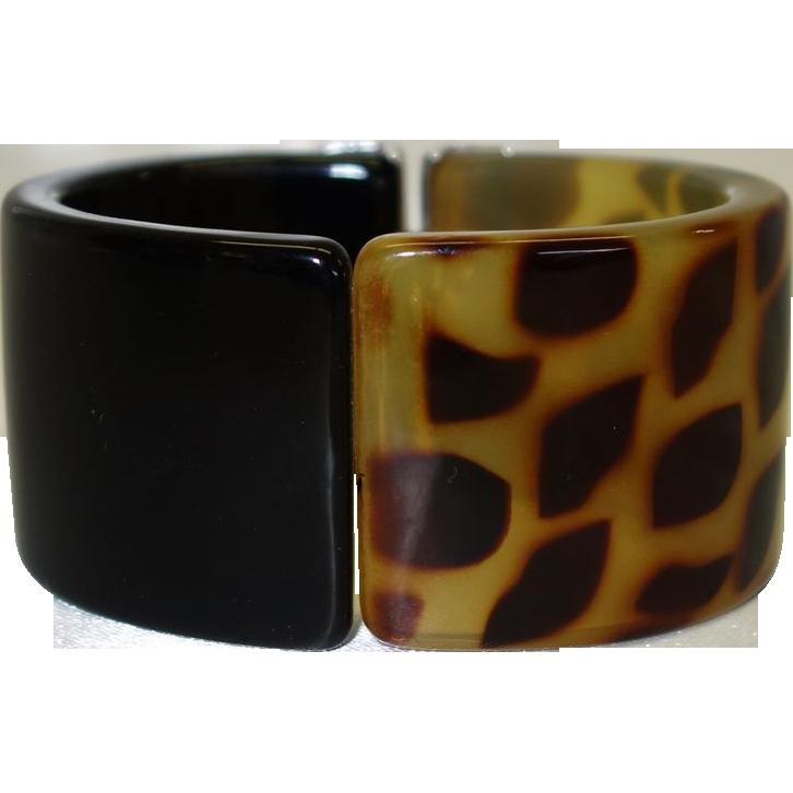 Vintage Black and Leopard Print Lucite Clamper or Hinge Bracelet
