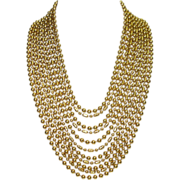 Vintage Napier Eleven Strand Gold Tone Metal Beaded Chain Necklace