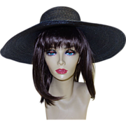 Vintage Black Wide Brimmed Finely Woven Straw Picture Hat by Ruth Allan Designs