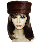 Vintage Conrad's Brown Mink Pillbox Hat