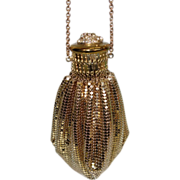 Vintage Whiting and Davis Gate-Top Gold Tone Metal Mesh Bag with Rhinestone Top