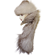 Glamorous Lady Face Pin with Mink Hat and Mink Wrap