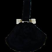 Elegant Vintage Black Velvet Pouch Bag with Lucite Trim