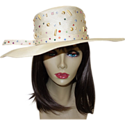 Vintage Jack McConnell Straw Hat with Beads and Rhinestones