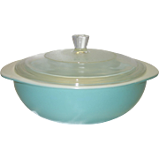 Vintage Pyrex Fired-On Turquoise 2 Quart Casserole