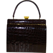 Glossy Dark Brown Framed Alligator Purse by Bellestone MINT