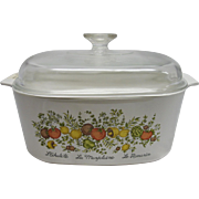 Vintage Corning Ware 5 Quart Covered Casserole in the Spice of Life Pattern