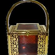 Vintage Tyrolean Tortoiseshell and Gold Filigree Lucite Box Purse