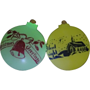 RARE Vintage Shiny Brite Glow in the Dark Stenciled Scene Glass Christmas Ornaments