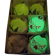 Five RARE Shiny Brite Glow in the Dark Stenciled Scene Ornaments