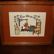 Framed Hearth Scene Cross Stitch