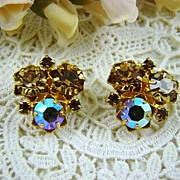 Champagne Rhinestone Earrings ~ Austria