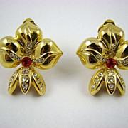 Polished Gold Tone and Rhinestone Fleur de Lis Earrings