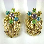 Script Coro Pastel Rhinestone Earrings ~ Mint!