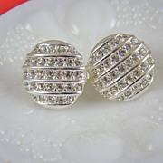 Pretty Rhodium Plated Rhinestone Art Deco Style Earrings