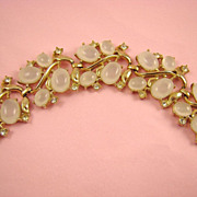 Stunning Opalescent Clam Broth Cabochon & Rhinestone Bracelet