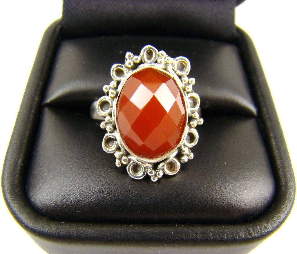 Fancy Faceted Simulated Carnelian Cabochon in Ornate Sterling