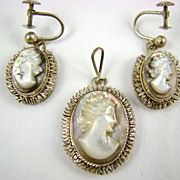 800 Silver Mother of Pearl Cameo Pendant and Earrings