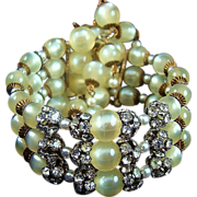Phenomenal Moonglow Bead and Rhinestone Wrap Bracelet