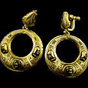 SALE Rare ~ Toledoware Spanish Damasquinado Nubian Dangle Earrings