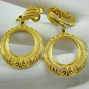 Gold Tone Dangle Earrings signed Hedy