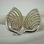 Silvertone Deco Style Napier Earrings