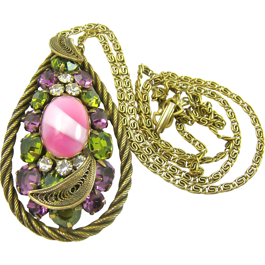 Stunning Old Art Glass and Rhinestone Pendant with Decorative Chain