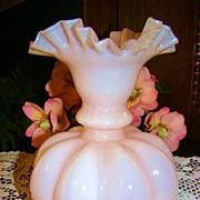 Circa 40s Fenton Rose Overlay Large Melon Vase