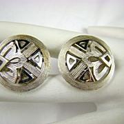 SALE Crown Trifari Modern Silvertone Earrings