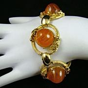 Marbled Amber Glass Bon Bon Cabochon Bracelet