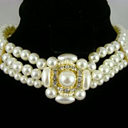 Imitation Pearl and Rhinestone Choker