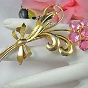 SALE Art Deco Wilcox Sterling Pink Rhinestone Floral Brooch