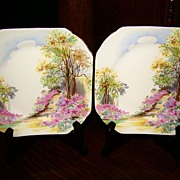 "Shelley China Dessert Plates ~ Pair ~ ""Englands Charm"""