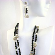 Stunning Black Glass Bead, Crystal and Rhinestone Rondelle Demi Parure