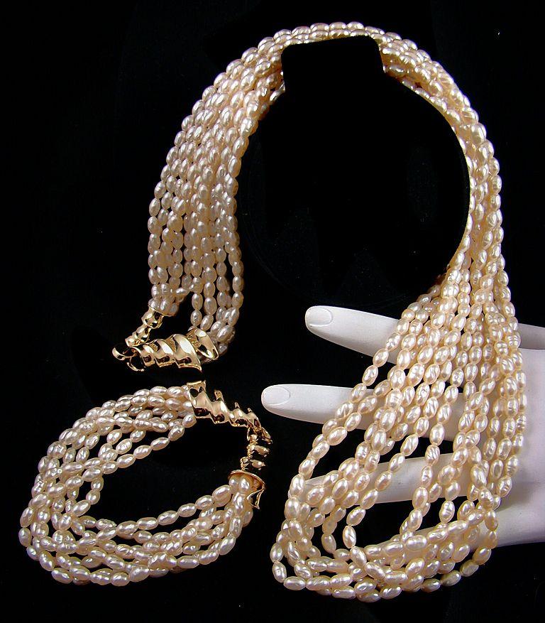 Classic Luxurious Imitation Freshwater Pearl Demi Parure